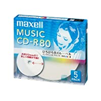 maxell 音楽用 CD-R 80分 インクジェットプリンタ対応ホワイト(ワイド印刷) 5枚 5mmケース入 CDRA80WP.5S