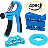 Hand Grip Strengthener Forearm Grip Workout Kit (4 Pack) with Adjustable Hand Grip, Hand Resistance Band, Strength Ring and Finger Band Workout for Arthritis, Rock Climbing, Guitar