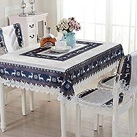 テーブルクロス、ヨーロッパの布のテーブルクロス綿とリネン小さな新鮮なノルディックスタイルの紅茶テーブルカバーの布クリスマステーブルクロステーブルランナーの椅子カバー (色 : 青, サイズ : 120cm round)