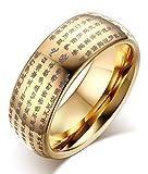 Rockyu 般若心経 指輪 メンズ リング サイズ 26号 タングステン 指輪 金色 ゴールド 男女兼用 お守り 経文 仏経 お年寄り プレゼント