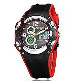 OHSEN 腕時計 キッズ スポーツ アナデジ表示 LCDバックライト 日付曜日 ストップウォッチ アラーム 30M防水 ブラック レッド