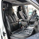 (ファーストクラス)FirstClass カーシートカバー ヒーター マッサージ 2機能 首・肩・背中・腰・尻・腿マッサージ PUレザー製 オフィス 通気性に富む 汎用 旅行 ホーム 車シート 椅子 4シーズン 車載 12V シングル ブラック 9もみ玉付き 右ハンドルに適用