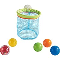 HABA Bathtub Tossing Game - Multi Use Bath Time Toy with Suction Cup Net & 5 Balls - Shoot Scoop and Store! [並行輸入品]