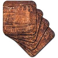 3D ローズ アメリカ西部 インディアン ペトログリフ サンドストーン セラミックタイル コースター マルチカラー