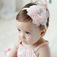 おしゃれベビー用ヘアバンド お花柄 新生児 赤ちゃん 出産祝い 内祝い (Pink)