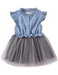 子供ドレス デニム 半袖デニムシャツドレス メッシュ チュール キッズスカート ふんわり 純色 膝上丈 可愛い 3~8歳 90~140㎝