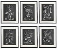 Idiopix Barber Patent Hair Salon Wall Decor Chalkboard Art Print Set of 6 Prints UNFRAMED 【Creative Arts】 [並行輸入品]
