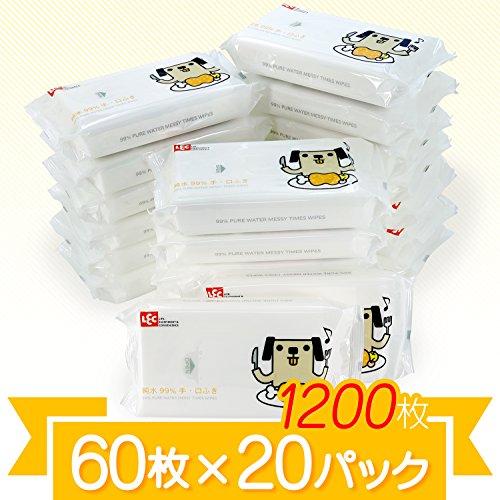 【Amazon.co.jp限定】 純水99% 手・くちふき 「ポチ」 60枚入×20個 (1200枚) 日本製 パラベンフリー