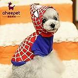 FidgetGear 春のファッションペット犬服テディ子犬服スパイダーマン印刷パーカー M