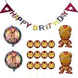 アイアンマン 誕生日 飾り付け iron man スーパーヒーロー スーパーマン 格好いい 英雄 子供 男の子 レッド ゴールド happy birthday ガーランド 風船 バルーン ケーキトッパー 17枚セット