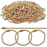 DNHCLL 100PCS 10CM Long Golden Tone Connector Clasp Ball Chains Keychain Tag for Making Key Chains, Necklaces, Or Other DIY P