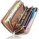 Kstarplus 財布 レディース長財布 ブランド カード 16枚 収納 取り出しやすい 小銭入れ 大容量収納可能 おしゃれ キーチェーン付(ブラウン)