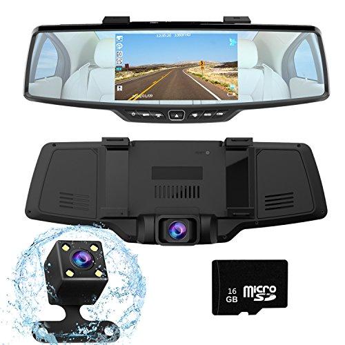 YOKOO ドライブレコーダー 前後カメラ バックミラー型 gps機能搭載 16G Micro SDカード付属 暗視カメラ ミラーモニター リアカメラ 防水 バックカメラ Sony323 170度広角レンズ 5.0インチ 駐車監視 常時録画