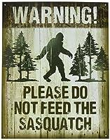 Halloween Prop Man Cave国プリミティブアンティーク調木製印刷Sign 8.5X 11警告Do Not Feed Sasquatch
