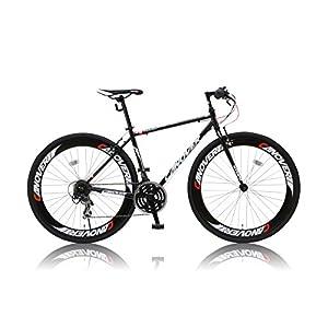 カノーバー クロスバイク 700C シマノ21段変速 CAC-025 (NYMPH) ディープリム グリップシフト フロントLEDライト付 ブラック