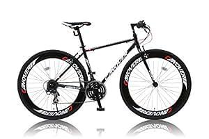 CANOVER(カノーバー) クロスバイク 700×28C CAC-025 NYMPH(ニンフ) シマノ21段変速グリップシフト 前後ディープリム 前後Vブレーキ LEDライト標準装備 ブラック
