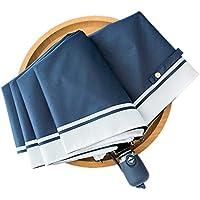 折りたたみ傘 日傘 折りたたみ uvカット 自動開閉 軽量 晴雨兼用 100遮光 傘 折り畳み傘 ワンタッチ 遮光 遮熱 耐風 撥水 可愛い 8本骨 ネイビー 収納ポーチ付き