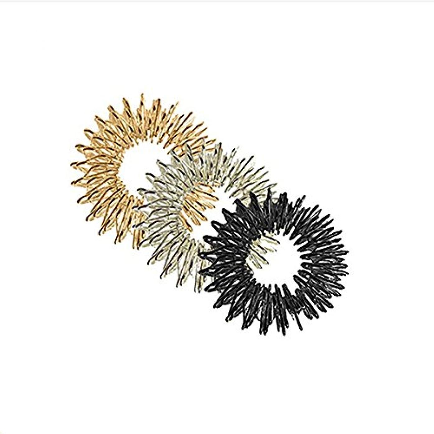 適性政治ダイヤモンドROSENICE 指圧リングマッサージリング3本指圧マッサージリング(ゴールド+シルバー+ブラック)