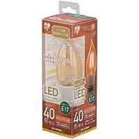 アイリスオーヤマ LED電球 フィラメント 口金直径17mm 40W形相当 キャンドル色 全配光タイプ シャンデリア レトロ風琥珀調ガラス製 LDF3C-G-E17