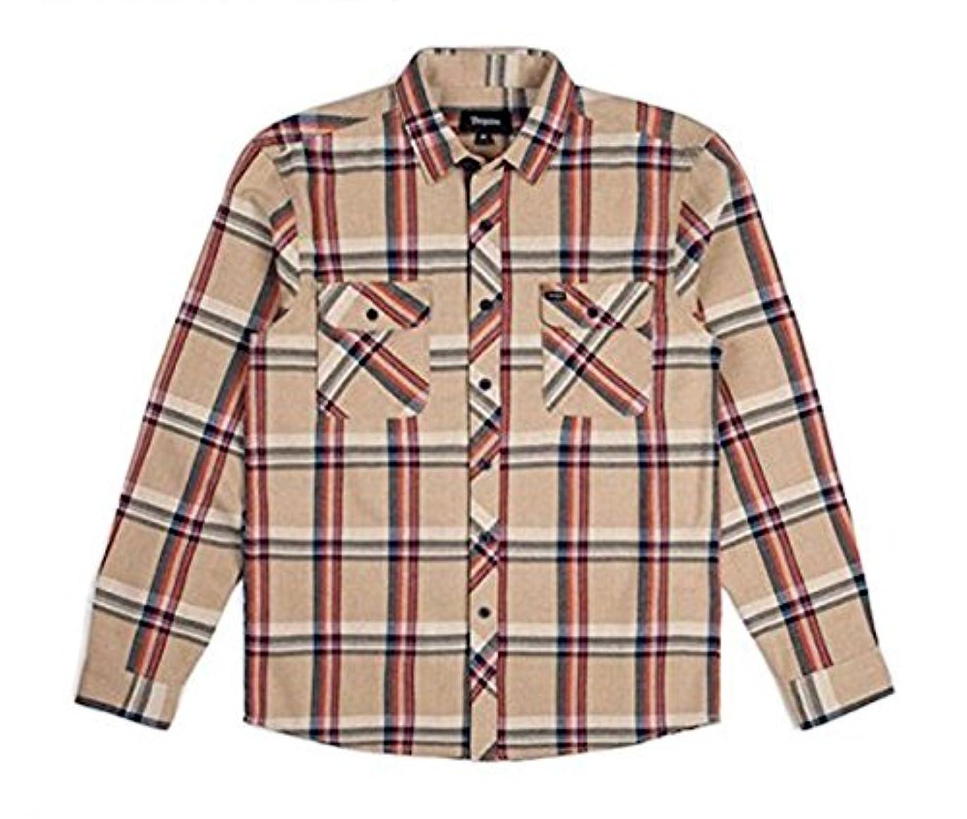 上院スクランブルオープニングBrixton Bowery L/S Flannel Shirt Tan Plaid L ネルシャツ 並行輸入品