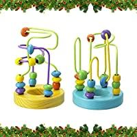 [とげなし]ミニビーズ迷路で、学習数学おもちゃaAbacus円木製教育インテリジェンスおもちゃfor子供の幼稚園2パック
