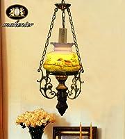 手描きヴィンテージ灯油シャンデリア1電球