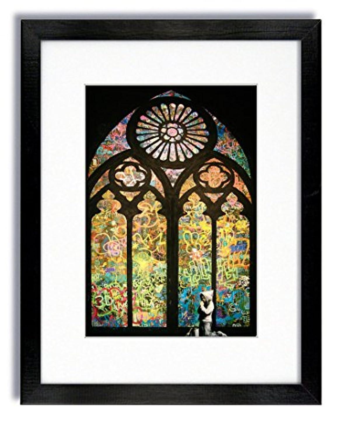 詐欺師世界レギュラーBanksy 教会のウィンドウで祈る少年 額入りプリント 18 X 14 INCHES