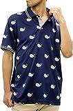 [ファットアニマルズ] 大きいサイズ メンズ ポロシャツ 総柄 ネイビー LL