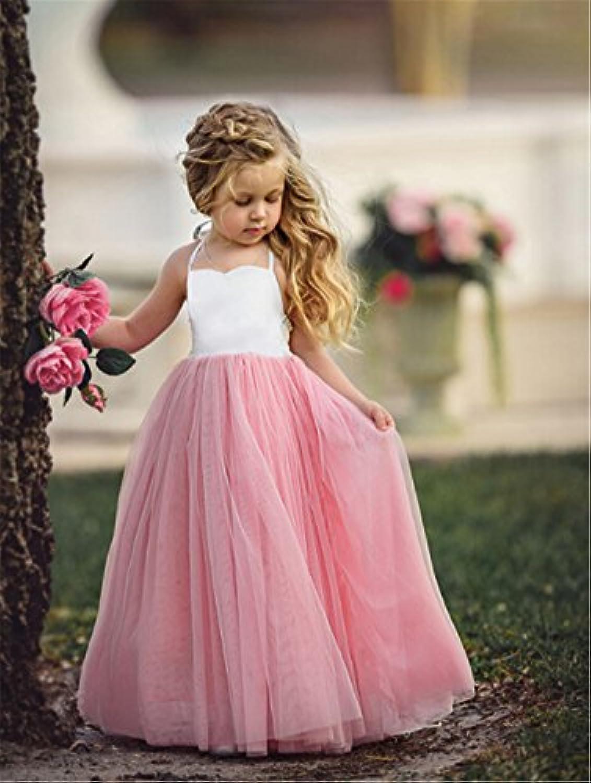 heyuni。ガールドレス女の子ピンクノースリーブウェディングパーティーガウンガールドレス女の子Play Clothes 120cm ピンク Heyuni.