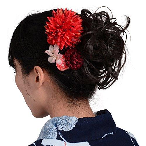 髪飾りUピン・コーム5点セットダリアと小花赤