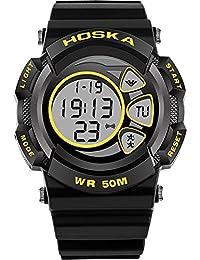HOSKA 可愛いデジタル 腕時計 キッズ ガールズ ボーイズ 多機能 子供 スポーツウォッチ (ブラック イエロー)