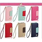 《全6色》iPhone 5 5s 手帳型iPhoneケース PUレザー 簡易ミラー付属 ストラップホルダー カードホルダー [並行輸入品] (ブルー)