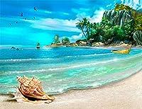Diyの油絵子供のためのデジタル油絵大人初心者16x20インチ、沿岸巻き貝---クリスマスの装飾ホームインテリアギフト (フレームなし)
