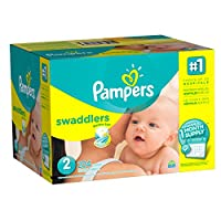 Pampers Swaddlers Diapers, Size 2, One Month Supply, 204 Count (Packaging May Vary) by Pampers