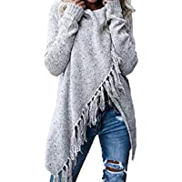 Autumn Shawl Style Sweater Casual Warm Scarf Collar Long Sleeve Tassel Button Long Knitted Pullovers Cardigans