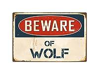 """Beware of Wolf 8"""" x 12""""ヴィンテージアルミレトロメタルサインvs445"""