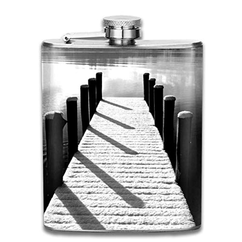 変装立法電話をかけるブルームン 酒器 酒瓶 お酒 フラスコ モノクロ ボトル 携帯用 フラゴン ワインポット 7oz 200ml ステンレス製 メンズ U型