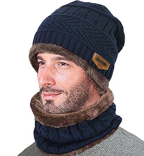 Lalaly ニット帽 ビーニー伸縮性のより厚い 裏起毛 人工フリースライニングある ケーブル編み ボンボン付 ニット帽 ニットワッチ 男女兼用 (ネイビー)
