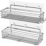 Orimade Bathroom Shelf with 5 Hooks for Hanging Razor and Sponge Shower Organizer Storage Kitchen Rack Adhesive No Drilling Stainless Steel - 2 Pack