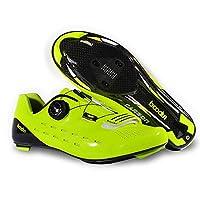 [Boodun] 自転車ロード シューズ ペダル カーボンソール サイクリングシューズ 耐摩耗性 プロ カーボンソール 超軽量 (41, イエロー)