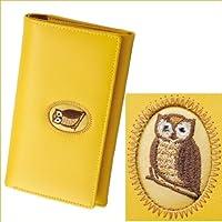 黄色いふくろう・牛革・長財布 幸福「不苦労」鳥・風水財布●福ぶくろう フクロウ
