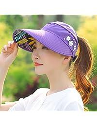 IAIZI 女性の折りたたみ式サン帽子、夏カジュアルサンプロテクションロング帽子の寝袋空のトップハット (色 : Purple)