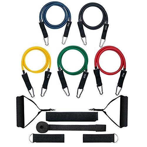 Patech フィットネスチューブ トレーニングチューブ 強度別5本セット チューブカバー付き 筋トレ/ダイエット 強度アップ