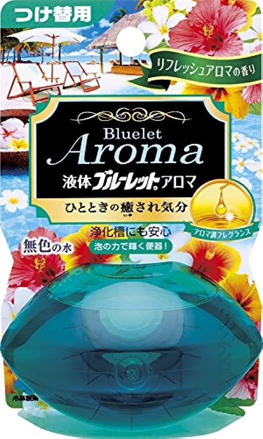 ナチュラル円形のフラスコ液体ブルーレットおくだけアロマ トイレタンク芳香洗浄剤 詰め替え用 リフレッシュアロマの香り 70ml