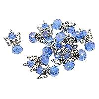 Baoblaze 12個 ガラスビーズ アンティークシルバー エンジェルウイングチャーム ペンダント アクセサリパーツ - 青