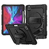 iPad Pro 12.9 Case 2020, CASZONE [Support Apple Pencil Wireless Attaching and Charging] Heavy Duty Shockproof Rugged Protective Cover with Hand/Shoulder Strap for iPad Pro 12.9inch 2020 4th Gen- Black