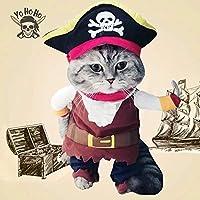ペット 犬 猫 アパレル かわいい コスプレ 服 帽子おかしい 衣装 スーツ 衣装 海賊形状  (M)