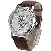 Men Watch, Lookatool Men Luxury Stainless Steel Quartz Military Sport Leather Band Dial Wrist Watch (L)