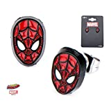 Marvel, Spider-Man Face Front, Base Metal & Black IP With Stainless Steel Post Stud Earrings