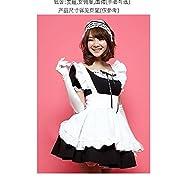 定番メイド服 (カチューシャ & 手袋付き) コスチューム 黒 レディース フリーサイズ